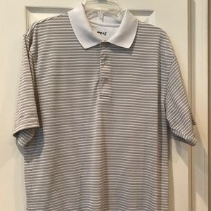 PING Tan Stripe Polo Golf shirt